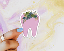 Load image into Gallery viewer, Tooth Succulent Sticker, Tooth Laptop Sticker, Water Bottle Sticker, Tooth Sticker, Tumbler Sticker, Dental Assistant Sticker, Dentist Gift