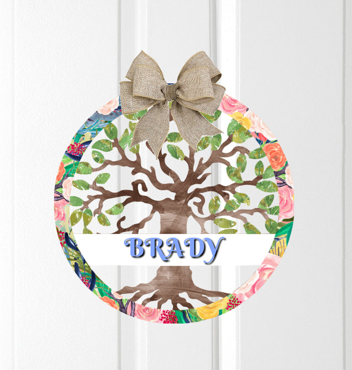 Summer Tree of Life Door Hanger - Personalized, Name Door Hanger, Family Gift, Custom Door Hanger, Wedding Gift, Front Door Hanger, Summer