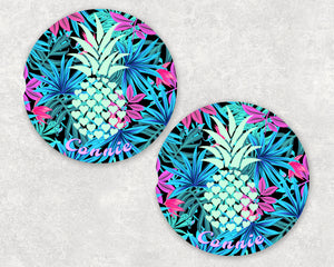 Pineapple Tropical Personalized Car Coasters, Pineapple Coaster, Name Coasters, Tropical Personalized Coaster, Sandstone Coasters, Set of 2