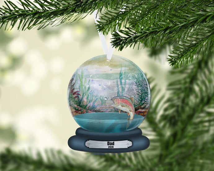 Trout Snow Globe Christmas Ornament, Personalized Ornament, Custom Christmas Holiday, Name Ornament, Gift for Dad, Man Gift, Man Christmas