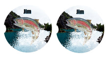 Load image into Gallery viewer, Trout Fishing Ceramic Car Coasters, Personalized, Set of 2, Trout Coaster, Car Coasters for Men, Fish Coaster, Gift for Fisherman, Fish