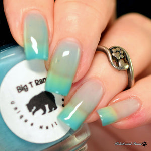 "Turquoise Color Changing and Glow Nail Polish - Mood Nail Polish - Thermal Nail Lacquer, Turquoise to Clear, ""Turquoise Lake"", Free Shipping"