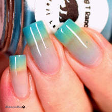 "Load image into Gallery viewer, Turquoise Color Changing and Glow Nail Polish - Mood Nail Polish - Thermal Nail Lacquer, Turquoise to Clear, ""Turquoise Lake"", Free Shipping"