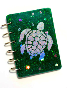 Sea Turtle Color Changing Glitter Notebook, Holographic Turtle, Ocean, Handmade Notebook, Glitter Notebook, Notebook Cover, Epoxy Notebook