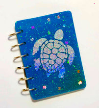 Load image into Gallery viewer, Sea Turtle Color Changing Glitter Notebook, Holographic Turtle, Ocean, Handmade Notebook, Glitter Notebook, Notebook Cover, Epoxy Notebook