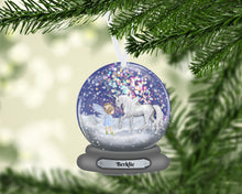 Load image into Gallery viewer, Unicorn and Fairy Snow Globe Christmas Ornament Personalized, Name Ornament, Custom Christmas Holiday, Gift for Girl, Unicorn Gift, Baby's First
