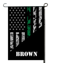 Load image into Gallery viewer, Thin Green Line Garden Flag, Garden Flag, Personalized, Name Garden Flag, Yard Decor, Yard Flag, Yard Decoration, Gift for Man, Father's Day