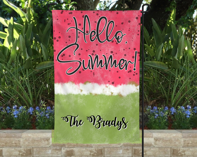 Watermelon Garden Flag, Personalized, Summer Garden Flag, Name Garden Flag, Watermelon Decor, Watermelon Flag, Yard Decor, Yard Decoration