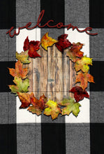 Load image into Gallery viewer, White Buffalo Plaid Leaves Monogram Garden Flag, Personalized, Fall Garden Flag, Autumn Garden Flag, Custom Garden Flag, Name Garden Flag