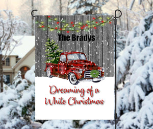 Red Truck Dreaming of a White Christmas Garden Flag, Christmas Flag, Personalized Garden Flag, Christmas Garden Flag, Custom Garden Flag
