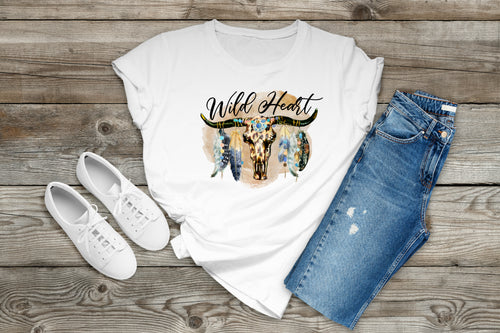 Sublimation Transfer Ready to Press, Wild at Heart, Sub Image, Printed, Ready to Use, Feathers Skull Sublimation, Adult/Child T-Shirt Size