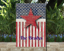 Load image into Gallery viewer, Patriotic Garden Flag Personalized, Stars and Stripes Garden Flag, Red White and Blue Flag, Holiday Yard Flag, American Flag Decor