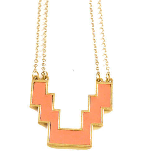 Petite Mayan Necklace in Peach