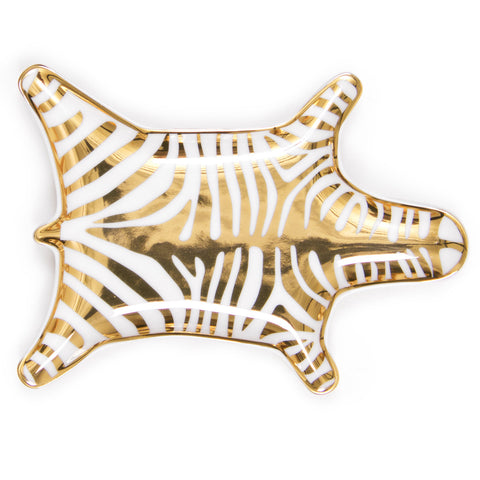 Metallic Carnaby Zebra Dish in Gold