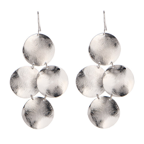 Disc Earrings in Rhodium