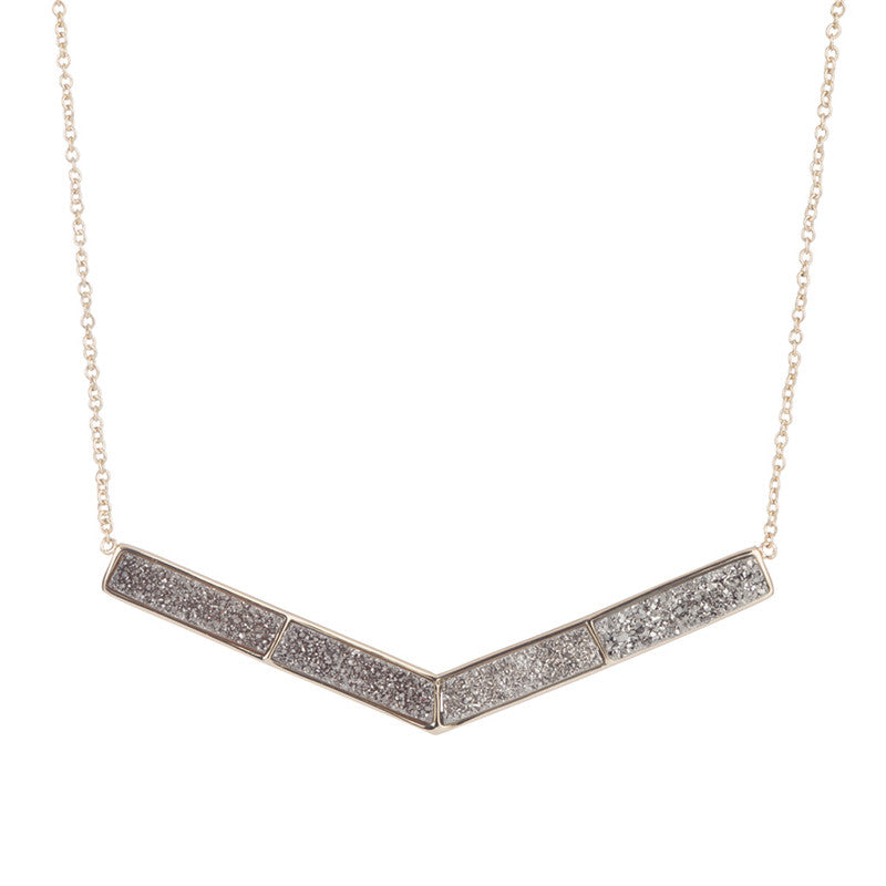 Titanium Druzy Arrow Necklace