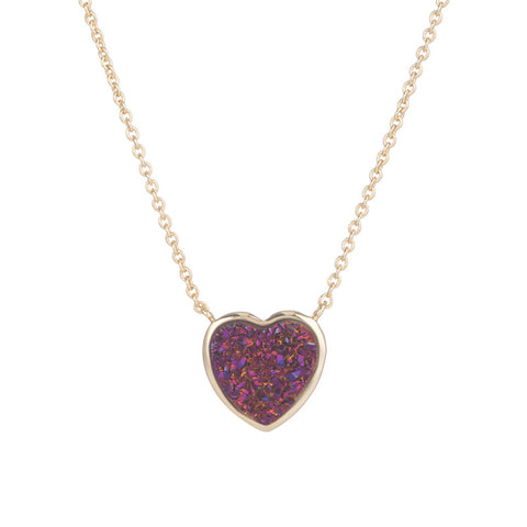 Druzy Heart Necklace in Garnet