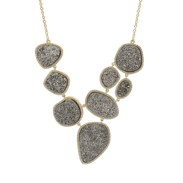 Multi-Shaped Titanium Druzy Stone Necklace