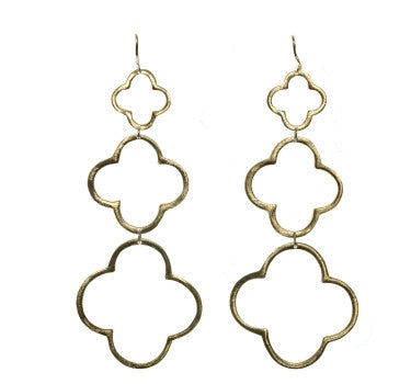 Triple Clover Earrings in Gold ♧