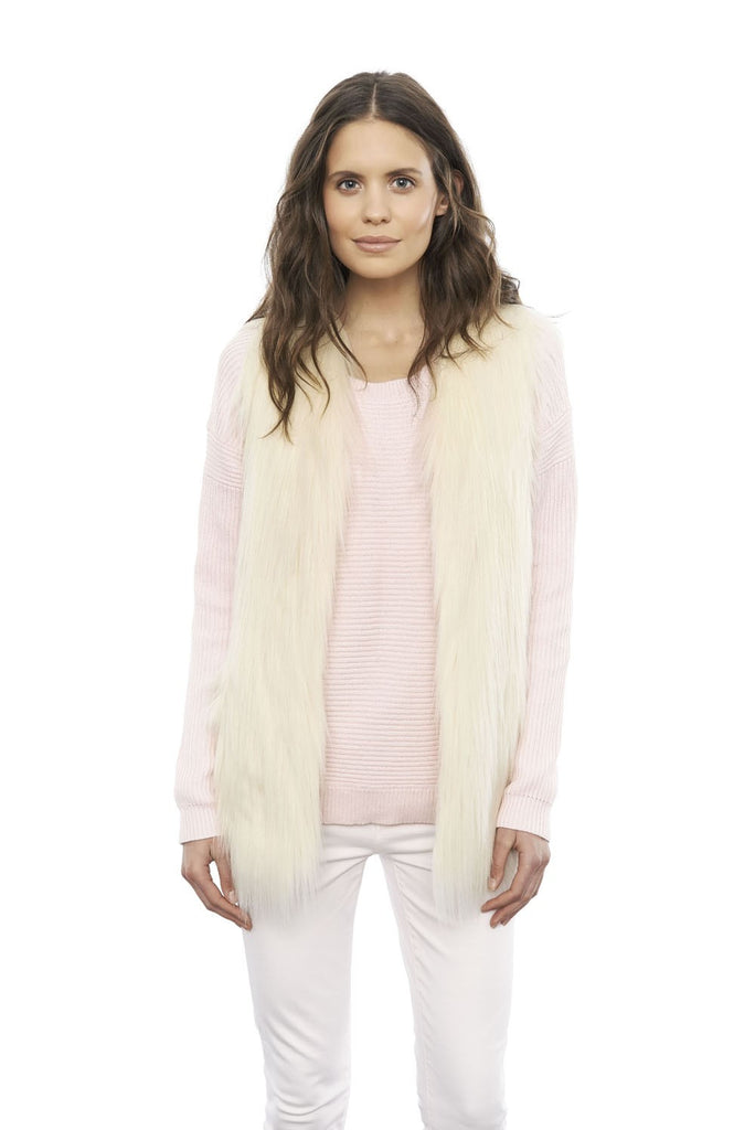Fur Play Vest in Ivory