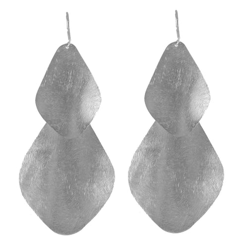 Double Bent Leaf Chandelier Earrings in Rhodium