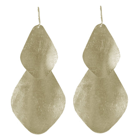 Double Bent Leaf Chandelier Earrings in Gold