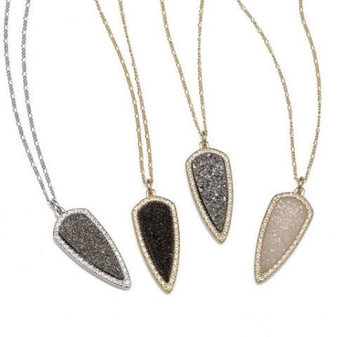 Titanium Druzy Arrow Pendant Necklace