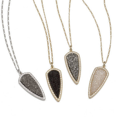 Black Druzy Arrow Pendant Necklace