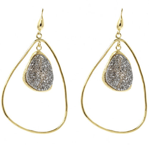 Titanium Druzy Drop Gold Earrings