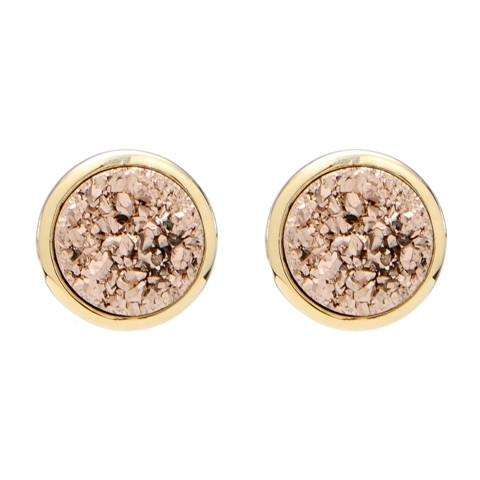 Round Stud Gold with Rose Gold Druzy Earrings