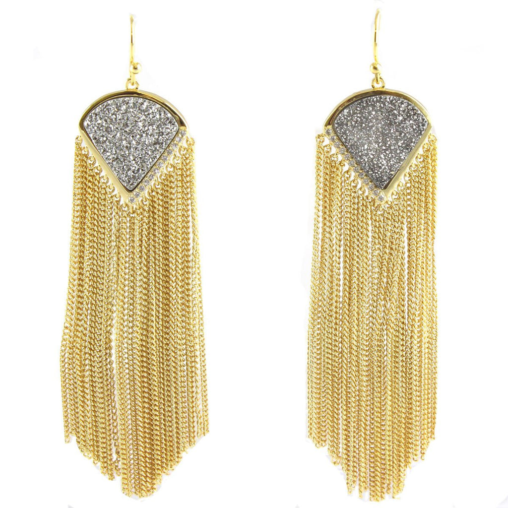 Sanoma Titanium Druzy Fringe Earrings