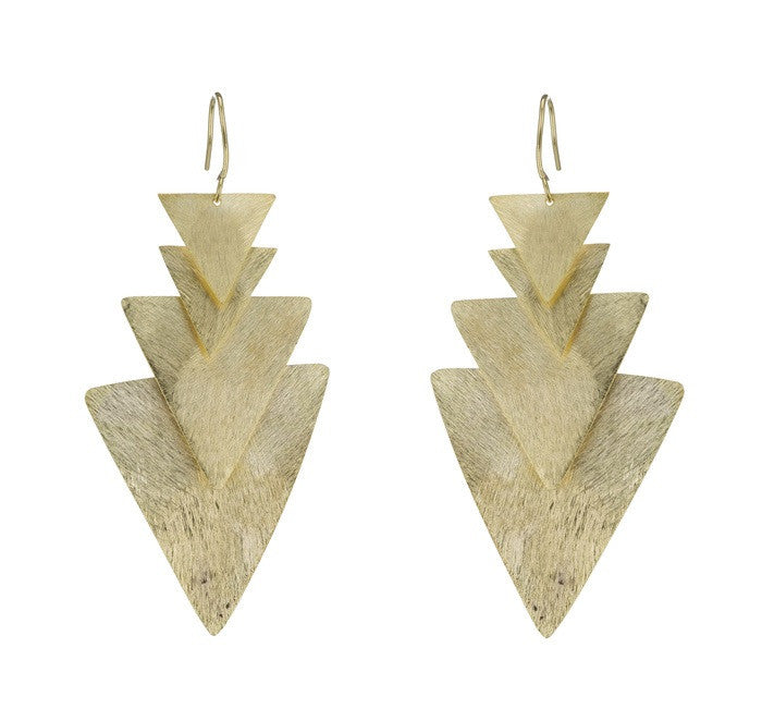 Triangle Tiered Earrings in Gold