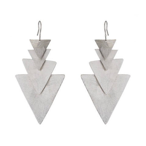 Triangle Tiered Earrings in Rhodium