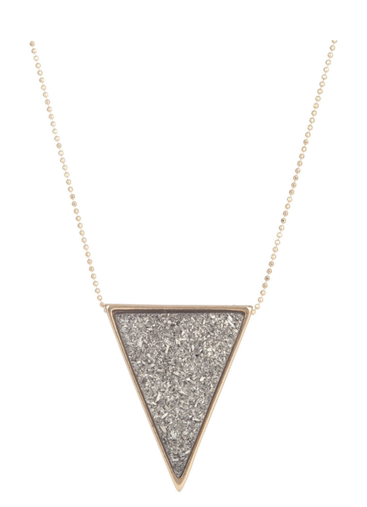 Druzy Triangle Stone Necklace