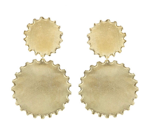 Double Disc Gold Earrings