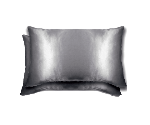 2 Queen Silk Pillowcases - Grey / Silver 51 x 74 cm