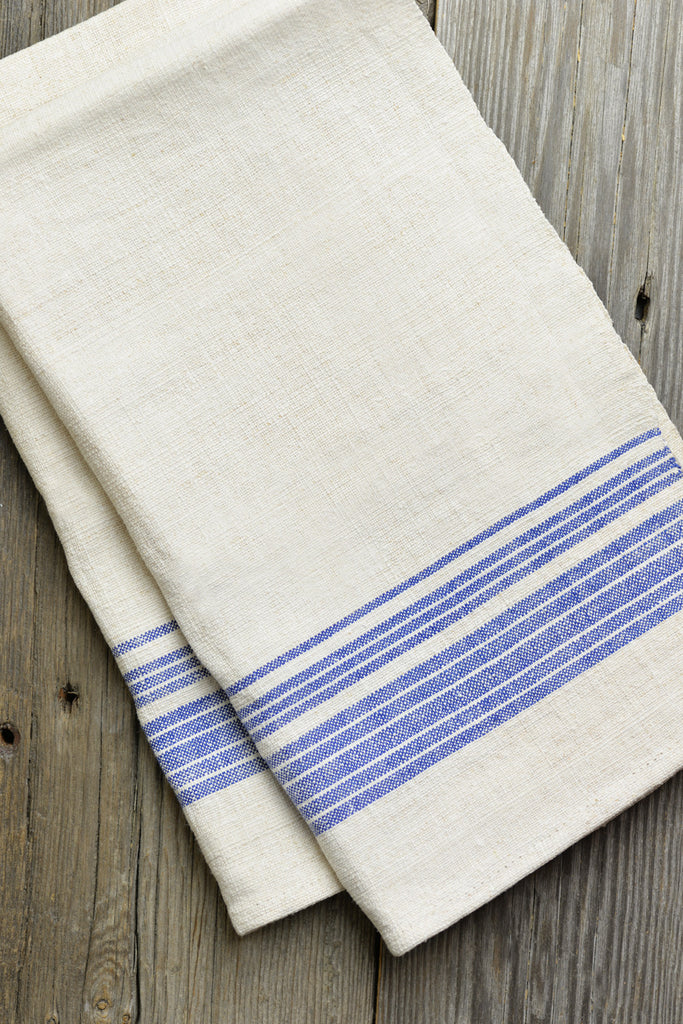 Organic Hemp Vintage Kitchen Towel - Indigo Stripe