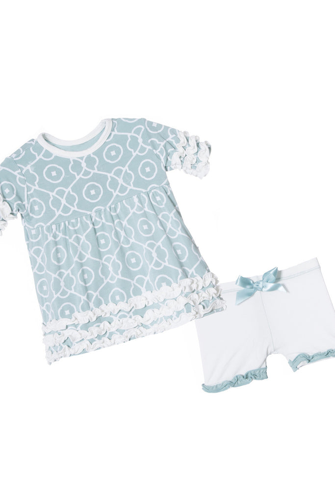 Kickee Pants Short Sleeve Babydoll Outfit Set in Jade Symphony