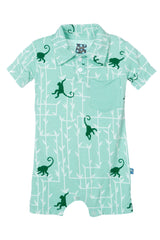 Glass Forest & Monkey Short Sleeve Polo Romper with Pocket