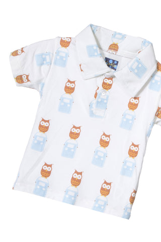 Kickee Pants Short Sleeve Polo in Natural Radio Owl
