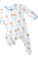 Kickee Pants Print Footie in Natural Radio Owl