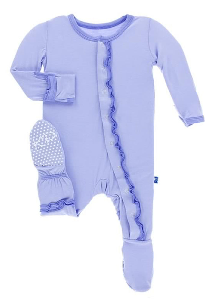 Kickee Pants Lilac & Forget Me Not Muffin Ruffle Footie