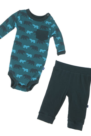 Kickee Pants Long Sleeve One Piece & Pant Set in Cedar Brown Bear