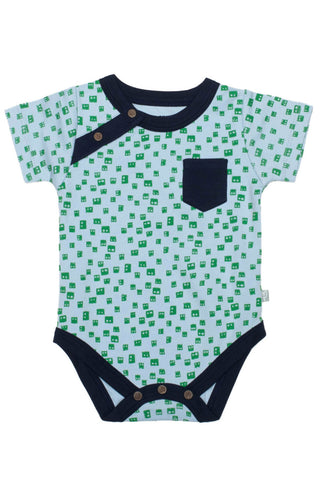 Finn + Emma Short Sleeve Bodysuit - Robot Head Print