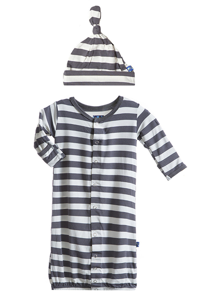KicKee Pants Striped Layette Gown Converter & Knot Hat Set