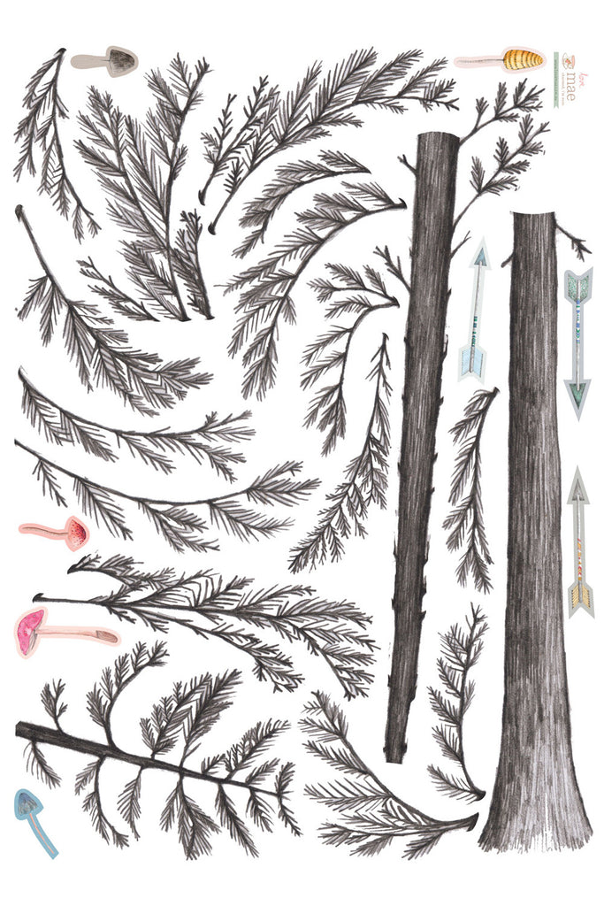 Love Mae Pine Tree - Fabric Wall Decals Sheet Layout
