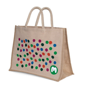 Spotty Jute Shopper Bag