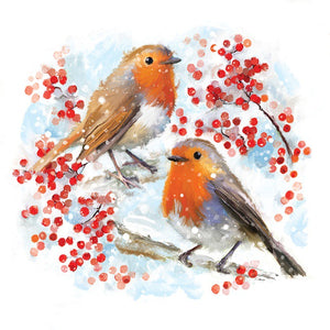 Red Berry Robins cards (Pack of 10)