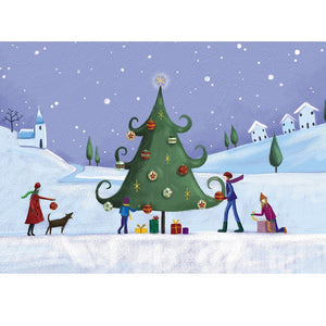 Family around the Christmas tree cards (Pack of 10)