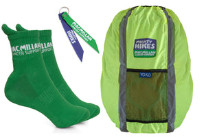 Mighty Hikes Bundle: Hiking Socks, Backpack cover and Backpack Ribbon